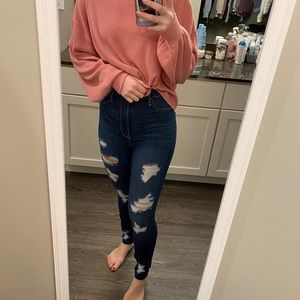 🤍HOST PICK🤍 Distressed Hollister high rise jeans